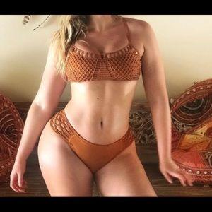 Macrame burnt orange bikini